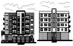 Design of Residential building with elevation in dwg file