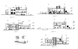 Design of Single-family house with section details in dwg file