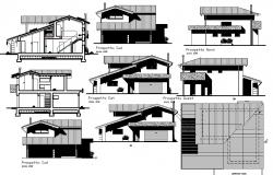 Design of bungalow with different elevation in AutoCAD