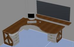 Computer desk design in DWG file