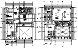 Design of house 17.13mtr x 17.00mtr with furniture detail in dwg file