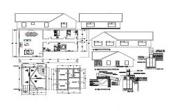 Design of house Plan 15.00mtr x 9.90mtr with section and elevation in dwg file