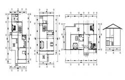 Design of house plan with detail dimension in autocad