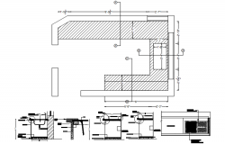 Design of kitchen plan with detail dimension in autocad