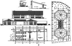 Design of school plan with detail dimension in dwg file