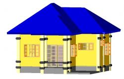 Design of the 3d house in autocad