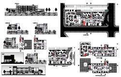 Design of the hospital with section and elevation in dwg file
