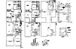 Design of the house with electric layout detail in AutoCAD