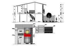 Design of the house with elevation and section in dwg file