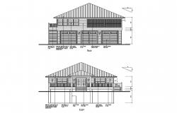 Design of the house with elevation details in dwg file
