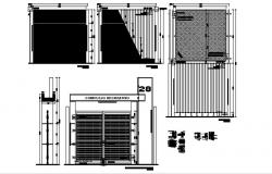 Design of the main gate with a detail dimension in AutoCAD