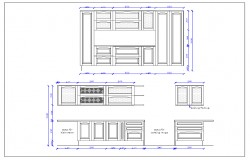 Design plan layout of kitchen and elevation plan view detail dwg file