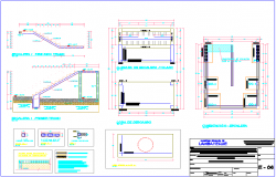 Design view of stair with structural detail view dwg file