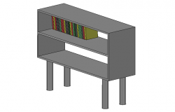 Designer book case front elevation 3d