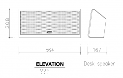 Desk speaker elevation and side view with electrical view dwg file