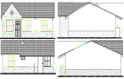 Detach House Architecture Design and Elevations dwg file