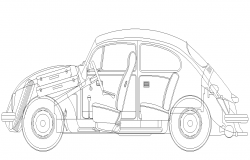 Detail Car CAD block 2d view layout autocad file