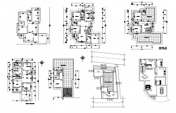 Detail apartment flat working plan 2d view layout dwg file