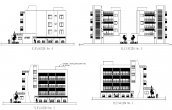 Detail apartment flats detail elevation layout file in autocad format