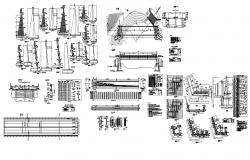 Detail bridge construction 2d view layout autocad file