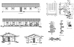 Detail building elevation section and different structure 2d view layout file