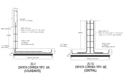 Detail cad drawing of central run and perimeter footing