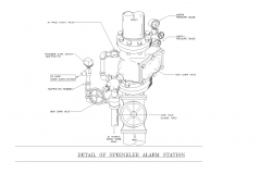 Detail cad drawing of sprinkler alarm station