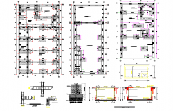 Detail column construction plan of a building detail 2d view layout plan