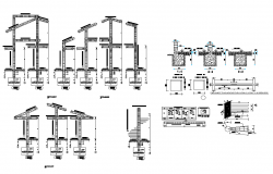 Detail column structure 2d view layout autocad file