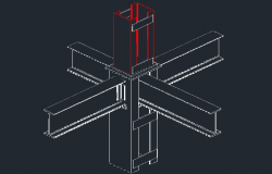 Detail connection of column with beams