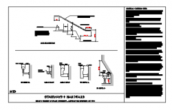 Detail drawing of Stair ways and Handrail section design drawing