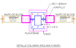 Detail drawing of column foundation blocks design drawing