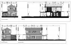 Detail elevation and section single family house layout file