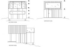 Detail elevation camping cabin layout file