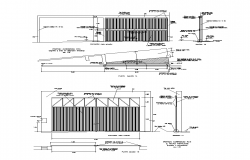 Detail gate door elevation and section 2d view layout file