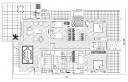 Detail hostel building 2d view layout plan