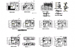 Detail housing building sectional plan and elevation 2d view autocad file