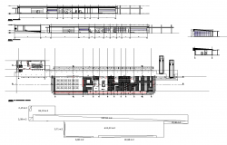 Detail industrial building elevation and plan 2d view layout dwg file