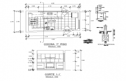 Detail kitchen plan and section CAD structure layout file