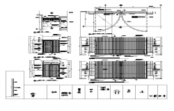 Detail metallic gate 2d view layout autocad file