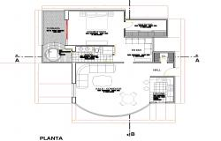Detail of 3 D house plan dwg fileSingles apartment home plan autocad file