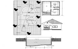 Detail of Pool house plan autocad drawing