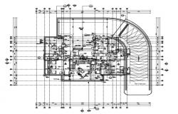 Detail of basement floor plan of a building.