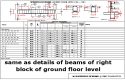 Detail of beams of right block of ground floor level dwg file
