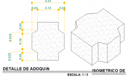 Detail of cobble stone 2d and isometric view dwg file