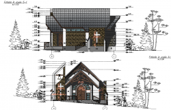 Detail of elevation and section chapel plan autocad file