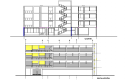 Detail of elevation and section commercial building plan autocad file