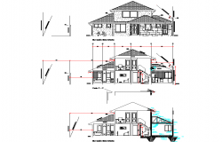 Detail of elevation and section home dwg file