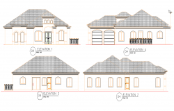 Detail of elevation residential dwelling 3 bedroom layout file