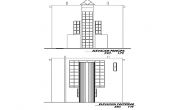 Detail of elevation small family house plan autocad file